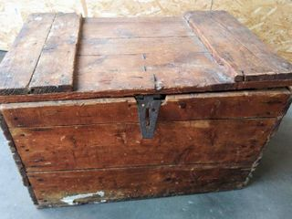 Antique Rustic Wood Chest  30  W x 20  D x 20  H