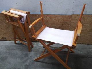 Folding Canvas   Wood Director Chairs   lot of 2   Missing Back Rest Canvas