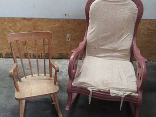 lot of 2 Vintage Rocking Chairs   Child s  Broke Pieces    Adult Size