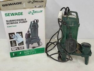 Zoeller 1261 0001 Submersible Sewage Pump Cast Iron 1 3 HP  333lPM
