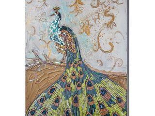 Crushed Glass Mosaic Wall Art   Peacock Wall Decor Retail 158 99