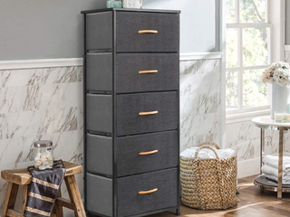 Crestlive Products Vertical Dresser Storage Tower   Sturdy Steel Frame  Wood Top  Easy Pull Fabric Bins  Wood Handles   Organizer Unit for Bedroom  Hallway  Entryway  Closets   5 Drawers  Gray