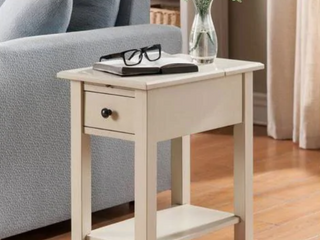 Copper Grove Ballingall Antique White Wood Side Table with Charging Station  Retail 118 49