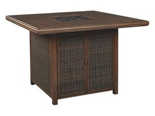 Paradise Trail Outdoor Square Bar Table w Fire Pit   Medium Brown Retail 1289 99