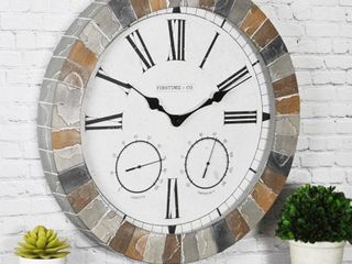 FirsTime   Co  Garden Stone Outdoor Clock  American Crafted  Faux Slate  Plastic  18 x 2 x 18 in   18 x 2 x 18 in