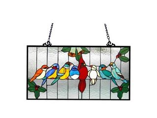 Chloe Tiffany Style Gathering Bird Design Window Panel Retail 117 99