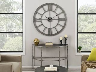 FirsTime   Co  Silver Big Time Clock  American Crafted  Distressed Silver  Plastic  40 x 2 x 40 in   40 x 2 x 40 in Retail 92 49