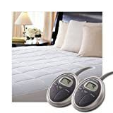 Sunbeam SelectTouch Premium Quilted Electric Heated Mattress Pad   Queen Size   White Retail 97 49
