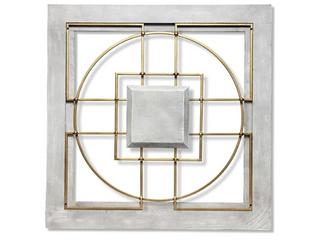 Matrix 24 inch large square gray gold wall Decor