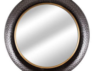 American Art Decor Round Gold Concave Silver Metal Wall Vanity Mirror   Antique Brown   A N Retail 196 49