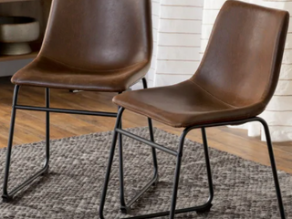 Carbon loft Prusiner Faux leather Dining Chairs  Set of 2    Brown Retail 176 99