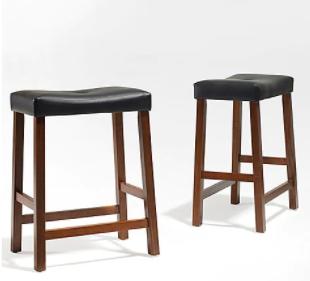 Crosley furniture up holstered saddle seat 2PC bar height barstool set