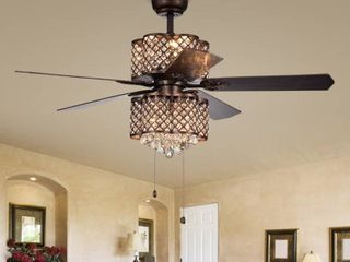 Quincy 6 light Crystal 5 blade 52 inch Rustic Bronze Ceiling Fan  2 Color Option Blades  Retail 316 99