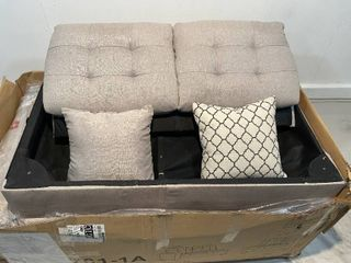 Taupe Gray linen Fabric Sectional Sofa and Ottoman  Retail 938 49