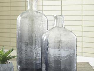 Maleah Modern Ombre Navy Blue Glass Jars   Set of 2 Retail   56 00