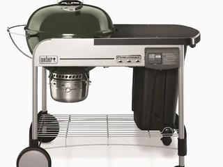 Weber Performer Deluxe 22 in Green Porcelain Enamel Kettle Charcoal Grill Retail  439 00