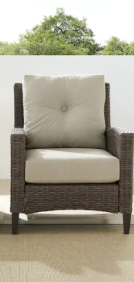 Crosley Furniture outdoor wicker arm chair weathered brown  Retail  382 00
