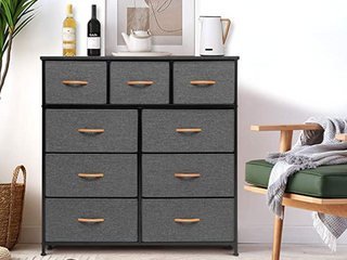 Crestlive Products Extra Wide Dresser Storage Tower   Sturdy Steel Frame  Wood Top  Easy Pull Fabric Bins  Wood Handles   Organizer Unit for Bedroom  Hallway  Entryway  Closets   9 Drawers  Gray