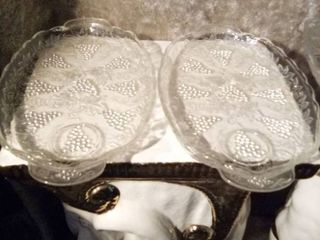princess house clear cut glass relish serving tray