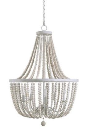 Zander White Wood Bead 5 light Chandelier