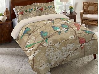 laural Home Birds  amp  Blossoms Comforter Bedding   Queen