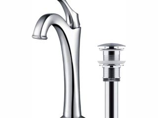 KRAUS Arlo Chrome Single Handle Vessel Bathroom Faucet w  Pop Up Drain