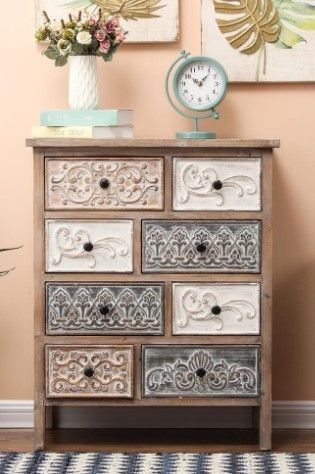 The Curated Nomad Brewa Varied Rustic Carved Wood 8 Drawer Chest