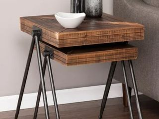 Carbon loft Eivens Industrial Wood Accent Tables   Set of 2
