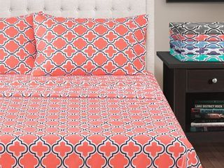 Superior Wrinkle Resistant Brushed Microfiber Printed Trellis Bed Sheet Set   Twin Xl