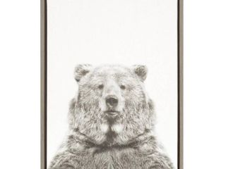 Kate and laurel Sylvie Bear Framed Canvas Wall Art by Simon Te Tai