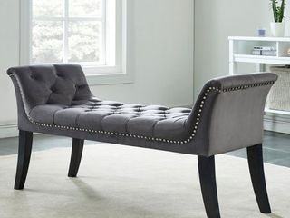 Velci Velvet Tufted Bench w  Stud Detail
