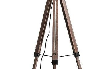 Stone   Beam Modern Tripod Floor lamp  59 5 H  With Bulb  Pine with linen Shade