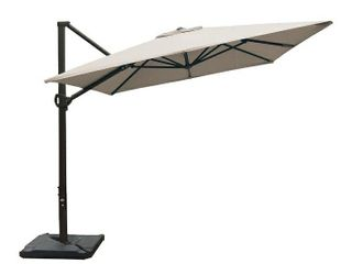 Abba Patio 8 x 10ft Offset Patio Umbrella Rectangular Cantilever Outdoor Hanging Umbrella with Crank   Easy Tilt   Cross Base for Garden  Deck  Backyard  Pool  Sand