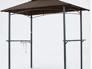MasterCanopy Grill Gazebo 8 x 5 Double Tiered Outdoor BBQ Gazebo Canopy with lED light  Brown