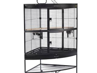 Prevue Pet Products 69  large Corner Birdcage  Missing Parts  Box 2 of 2  Missing Box 1 of 1  Black Hammertone