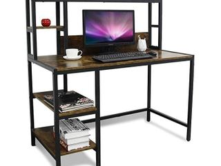 Heavily Distressed Box Bizzoelife Computer Desk with Hutch and 2 Tier Bookshelfi   47  Modern Writing Study Desk w Storage Shelf for Small Space  PC laptop Table Workstation for Home Office to Saving Space  Retro
