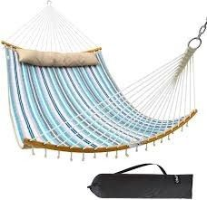 Ohuhu Double Hammock Quilted Fabric Swing w  Strong Curved Bar Bamboo  Missing Pillow    Carrying Bag  55 x 75