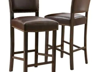 Christopher Knight Home Mayfield Bonded leather Backed Barstools  2 Pcs Set  Brown