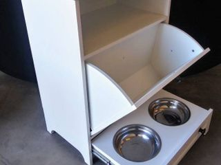 Roomfitters White Pet Feeding Station w Double Pull Out Dog Bowl   Pet Food Cabinet   Pet Toy Storage Organizer