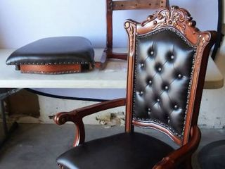 2   ACME Vendome Executive Arm Chair in PU  Faux leather    Cherry   Button Tufted with Nailhead Trim  Padded Back   Seat