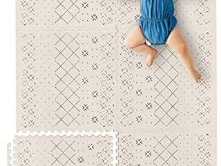 Yay Mats Stylish Extra large Baby Play Mat  Soft  Thick  Non Toxic Foam Covers 6 ft x 4 ft  Expandable Tiles with Edges Infants and Kids Playmat Tummy Time Mat  Carter Mudcloth Tan