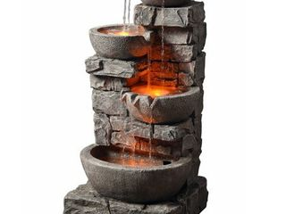 Peaktop   Outdoor Stacked Stone Tiered Bowls Fountain w  lED light