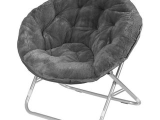 Urban Shop Faux Fur Saucer Chair with Metal Frame  One Size  Black