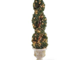 lot of 2   National Tree Company Pre lit Artificial Shrub   Includes Urn Base and White lights   Double Cedar Spiral   54 Inches Tall