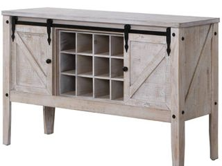 FirsTime   Co  Gray Quincy Farmhouse Barn Door Buffet and Wine Console Table  American Designed  Gray  47 x 15 x 30 inches