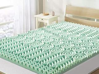 Best Price Mattress 1 5 Inch 5 Zone Memory Foam Topper  Mattress Pad with Calming Aloe Vera Infusion  CertiPUR US Certified  Short Queen
