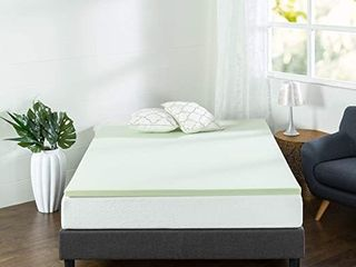 Zinus 1 5 Inch Green Tea Memory Foam Mattress Topper   Green Tea   Charcoal Infused for Freshness   CertiPUR US Certified  King