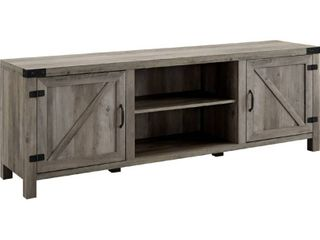 Walker Edison Modern Farmhouse Barn Wood Stand with Cabinet Doors TV s up to 80  Storage Cabinet Doors and Shelves  Entertainment Center  70 Inch  Grey Wash
