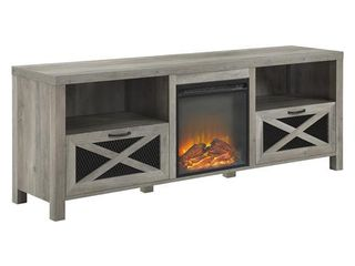 Walker Edison Modern Farmhouse X Wood Fireplace Universal Stand for TV s up to 80  Flat Screen living Room Storage Shelves Entertainment Center  70 Inch  Grey Wash