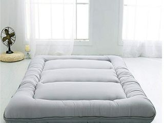 Japanese Floor Mattress Futon Mattress  Thicken Tatami Mat Sleeping Pad  Foldable  Grey  Full Size